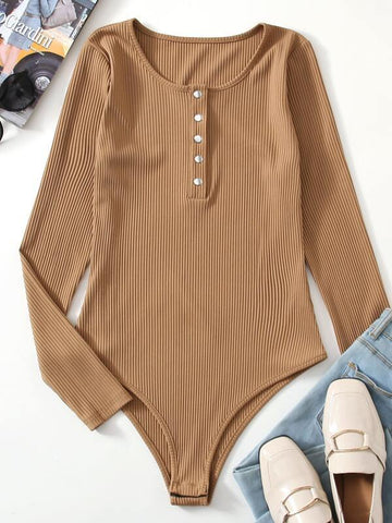 Ribbed Button Front Bodysuit - INS | Online Fashion Free Shipping Clothing, Dresses, Tops, Shoes