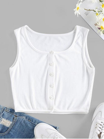 Ribbed Button Up Crop Tank Top - INS | Online Fashion Free Shipping Clothing, Dresses, Tops, Shoes