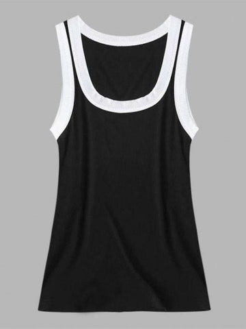 Ribbed Contrast Trim Scoop Neck Tank Top - INS | Online Fashion Free Shipping Clothing, Dresses, Tops, Shoes
