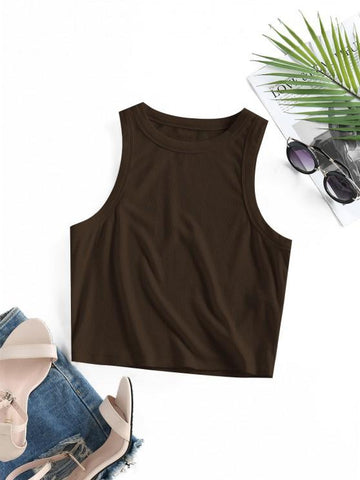 Ribbed Fitted Crop Tank Top - INS | Online Fashion Free Shipping Clothing, Dresses, Tops, Shoes