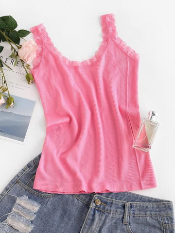 Ribbed Lace Insert Plain Tank Top - INS | Online Fashion Free Shipping Clothing, Dresses, Tops, Shoes