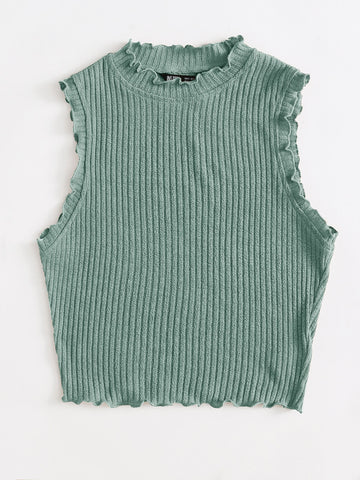 Ribbed Lettuce-Edge Tank Top - INS | Online Fashion Free Shipping Clothing, Dresses, Tops, Shoes