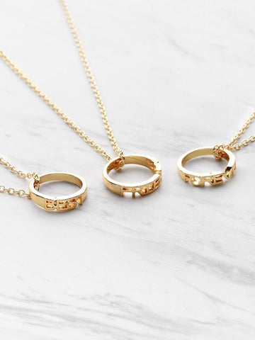 Ring Embellished Friendship Pendant Necklace 3pcs - INS | Online Fashion Free Shipping Clothing, Dresses, Tops, Shoes