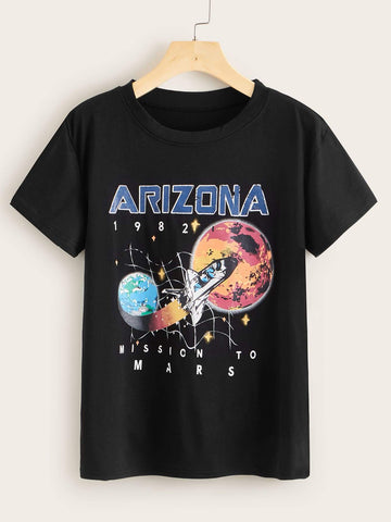Rocket Mission to Mars Graphic Tee - INS | Online Fashion Free Shipping Clothing, Dresses, Tops, Shoes