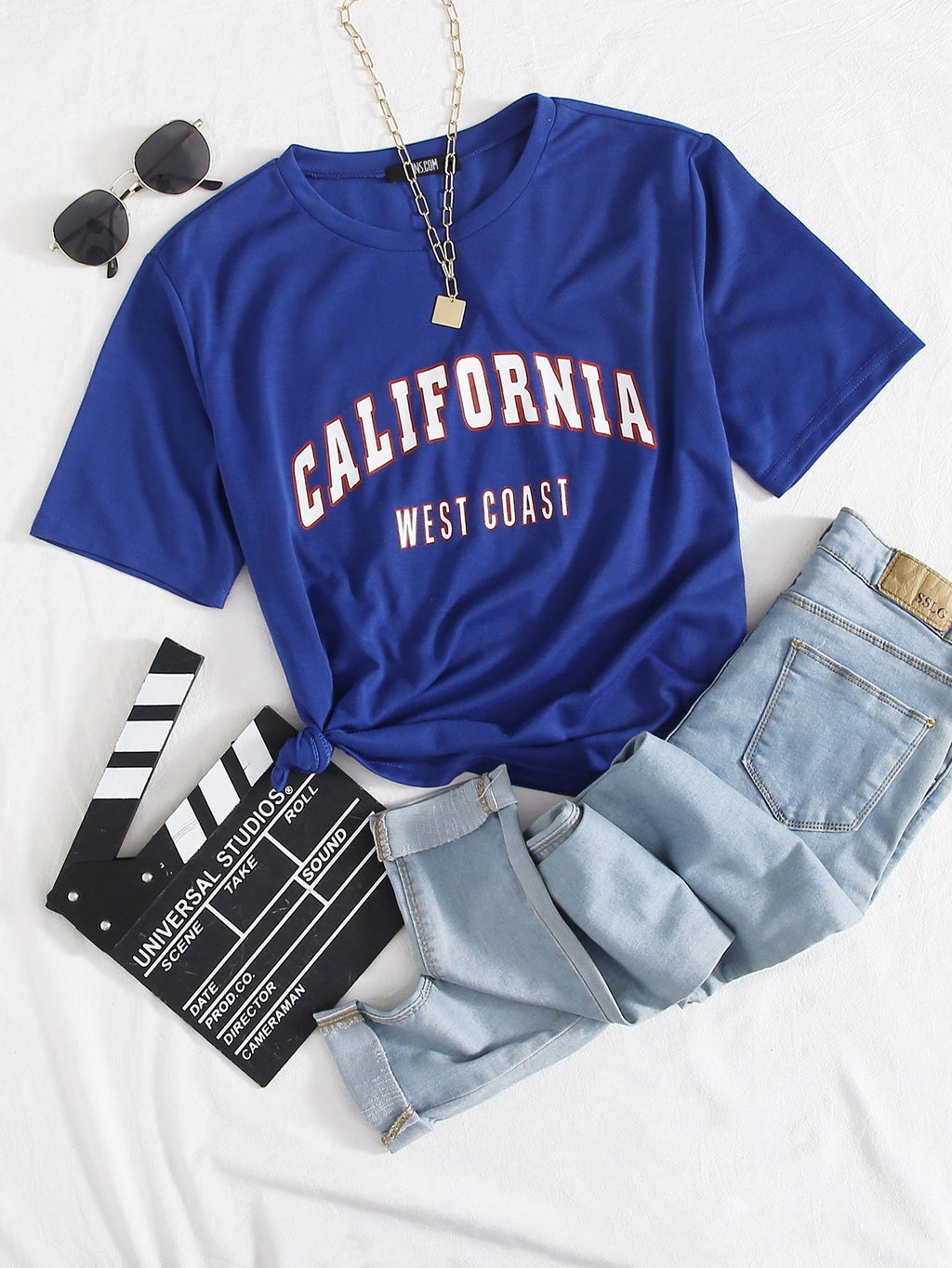 Roll Up Sleeve Letter Graphic Tee - INS | Online Fashion Free Shipping Clothing, Dresses, Tops, Shoes