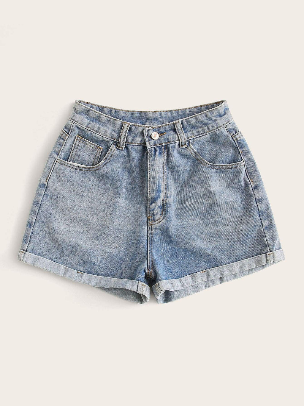 Rolled High-Rise Denim Shorts - INS | Online Fashion Free Shipping Clothing, Dresses, Tops, Shoes