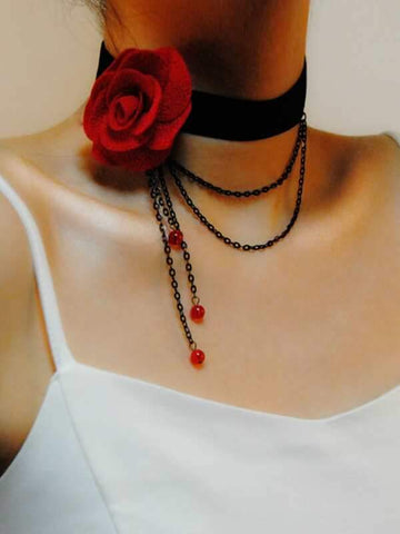 Rose & Chain Decor Choker - INS | Online Fashion Free Shipping Clothing, Dresses, Tops, Shoes