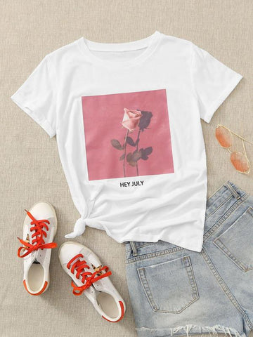Rose & Letter Graphic Tee - INS | Online Fashion Free Shipping Clothing, Dresses, Tops, Shoes