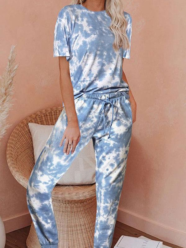 Round Neck Tie Dye Pants Suit - INS | Online Fashion Free Shipping Clothing, Dresses, Tops, Shoes