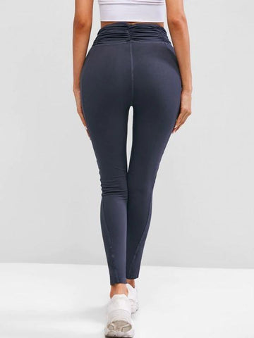 Ruched Waist Wide Waistband Workout Gym Leggings - INS | Online Fashion Free Shipping Clothing, Dresses, Tops, Shoes