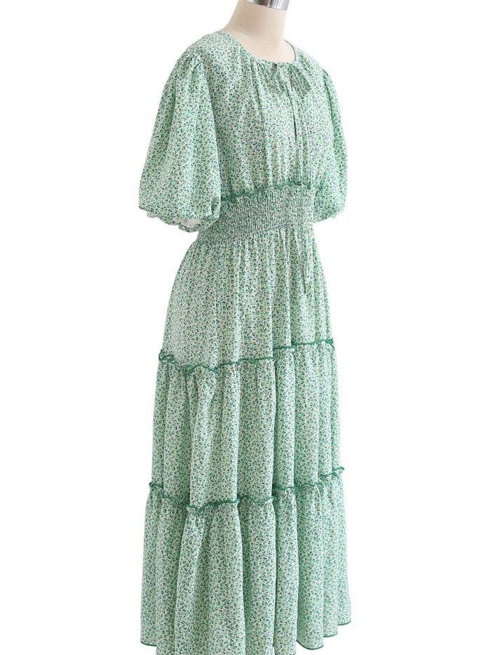 Ruffle Detail Ditsy Floral Shirred Dress In Green - Maxi Dresses - INS | Online Fashion Free Shipping Clothing, Dresses, Tops, Shoes - 23/04/2021 - chiffon-dress - Color_Green