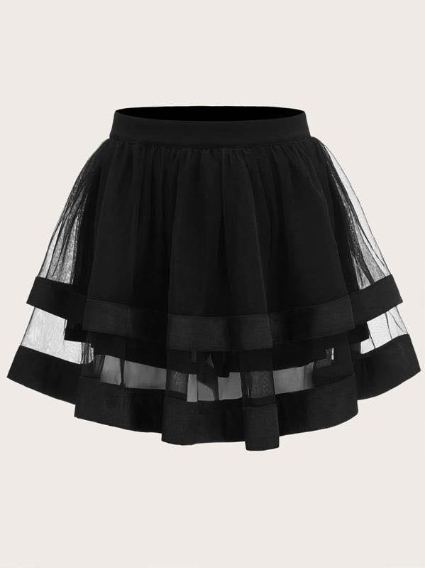 Satin Trim Layered Organza Skirt - INS | Online Fashion Free Shipping Clothing, Dresses, Tops, Shoes