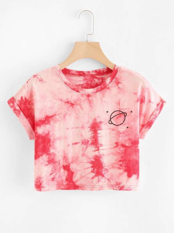 Saturn Graphic Tie-Dye Tee - INS | Online Fashion Free Shipping Clothing, Dresses, Tops, Shoes