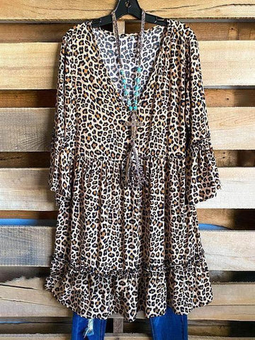 Sexy Leopard Print V-Neck Dress - INS | Online Fashion Free Shipping Clothing, Dresses, Tops, Shoes