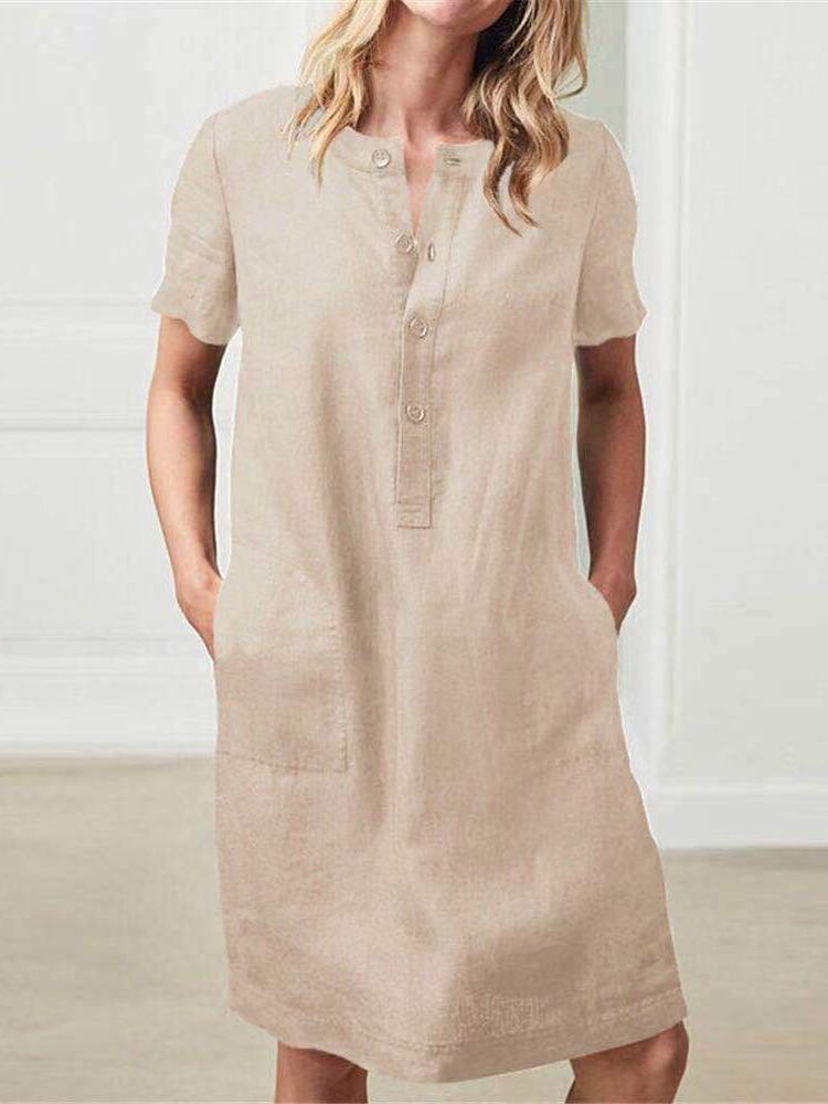 Short-Sleeved Dress And Shirt Breasted Gentle Style Women - INS | Online Fashion Free Shipping Clothing, Dresses, Tops, Shoes