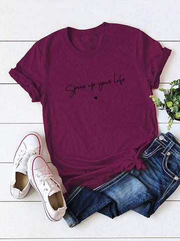 Simple Letter & Heart Graphic Tee - INS | Online Fashion Free Shipping Clothing, Dresses, Tops, Shoes