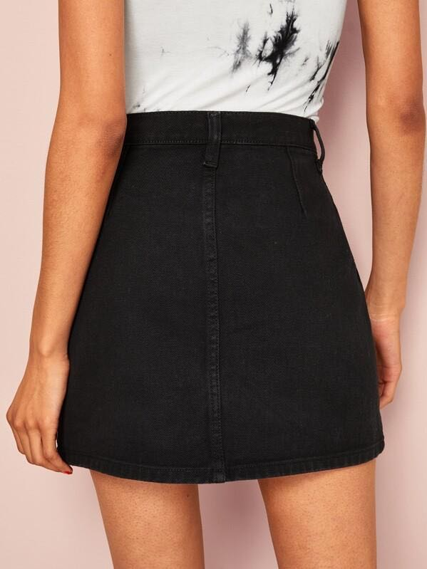 Single Breasted Slant Pocket Denim Skirt - INS | Online Fashion Free Shipping Clothing, Dresses, Tops, Shoes