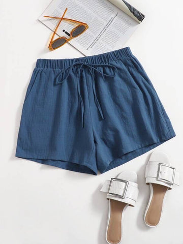 Slant Pocket Knot Waist Shorts - INS | Online Fashion Free Shipping Clothing, Dresses, Tops, Shoes
