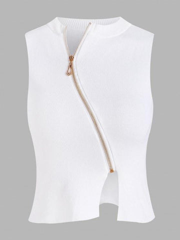 Slant Zip Front Sleeveless Knitwear - INS | Online Fashion Free Shipping Clothing, Dresses, Tops, Shoes
