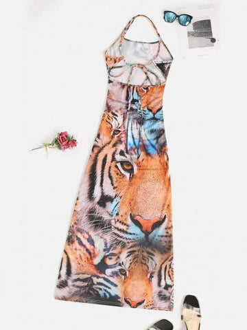 Slit 3D Tiger Print Criss Cross Long Cami Dress - INS | Online Fashion Free Shipping Clothing, Dresses, Tops, Shoes