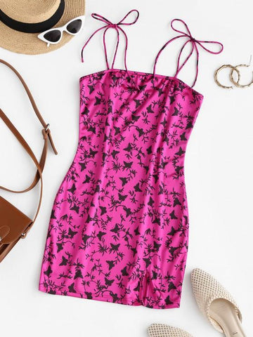 Slit Butterfly Print Mini Bodycon Dress - INS | Online Fashion Free Shipping Clothing, Dresses, Tops, Shoes