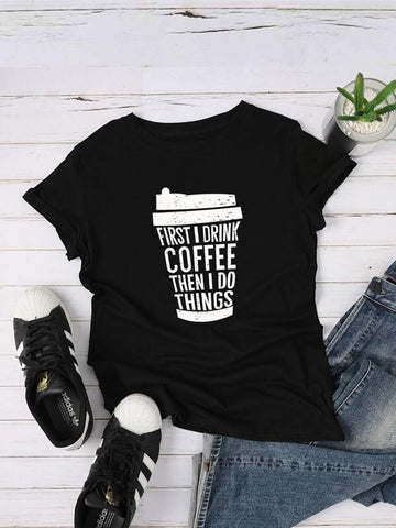 Slogan And Coffee Cup Graphic Tee - INS | Online Fashion Free Shipping Clothing, Dresses, Tops, Shoes