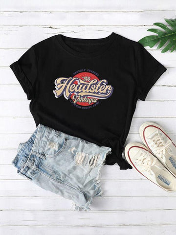 Slogan & Graphic Round Neck Tee - INS | Online Fashion Free Shipping Clothing, Dresses, Tops, Shoes