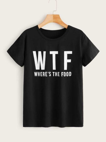 Slogan Print Round Neck Tee - INS | Online Fashion Free Shipping Clothing, Dresses, Tops, Shoes