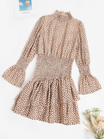 Smocked Spotted Print Poet Sleeve Layered Dress - INS | Online Fashion Free Shipping Clothing, Dresses, Tops, Shoes