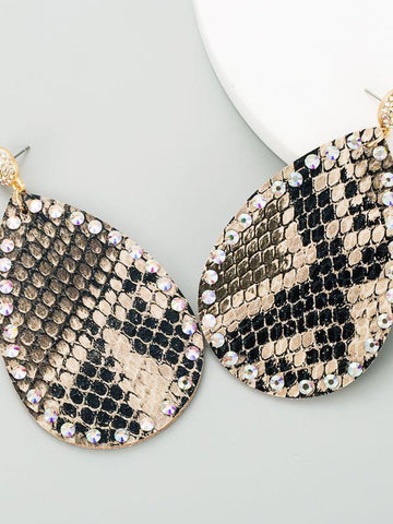 Snakeskin pattern diamond retro ethnic style earrings - INS | Online Fashion Free Shipping Clothing, Dresses, Tops, Shoes