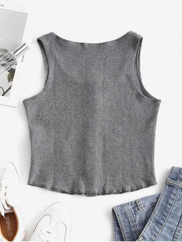 Snap Button Solid Ribbed Tank Top - INS | Online Fashion Free Shipping Clothing, Dresses, Tops, Shoes
