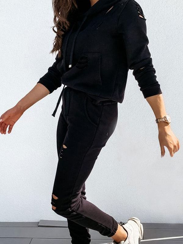Solid Color Casual Burnt-Out Hoodie & Pants Suit - INS | Online Fashion Free Shipping Clothing, Dresses, Tops, Shoes