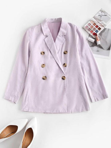 Solid Double Breasted Blazer - INS | Online Fashion Free Shipping Clothing, Dresses, Tops, Shoes