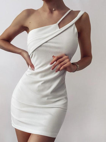 Solid One Shoulder Slinky Mini Dress - INS | Online Fashion Free Shipping Clothing, Dresses, Tops, Shoes