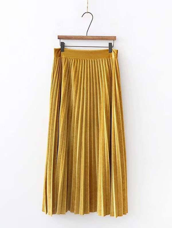 Solid Pleated Velvet Skirt - INS | Online Fashion Free Shipping Clothing, Dresses, Tops, Shoes