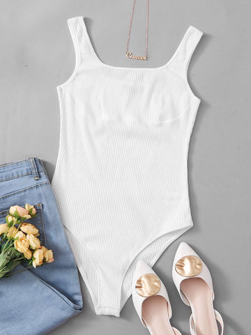 Solid Rib-knit Tank Bodysuit - INS | Online Fashion Free Shipping Clothing, Dresses, Tops, Shoes