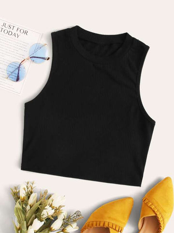 Solid Ribbed Cropped Tank Top - INS | Online Fashion Free Shipping Clothing, Dresses, Tops, Shoes