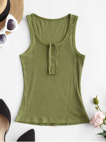 Solid Snap Button Ribbed Tank Top - INS | Online Fashion Free Shipping Clothing, Dresses, Tops, Shoes