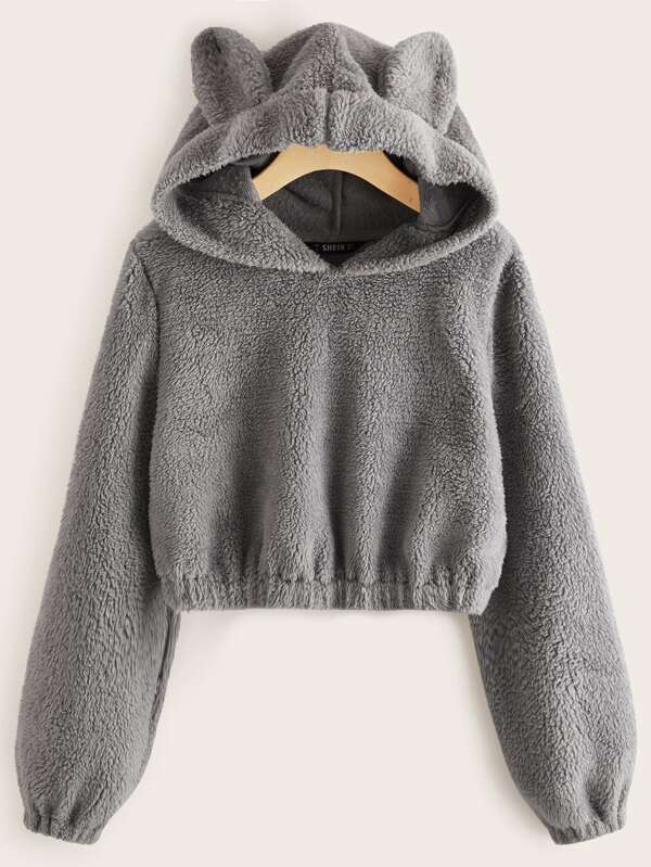 Solid Teddy Ear Hoodie - INS | Online Fashion Free Shipping Clothing, Dresses, Tops, Shoes