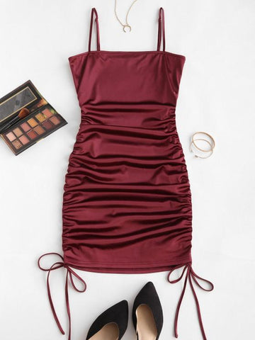 Spaghetti Strap Cinched Satin Bodycon Dress - INS | Online Fashion Free Shipping Clothing, Dresses, Tops, Shoes