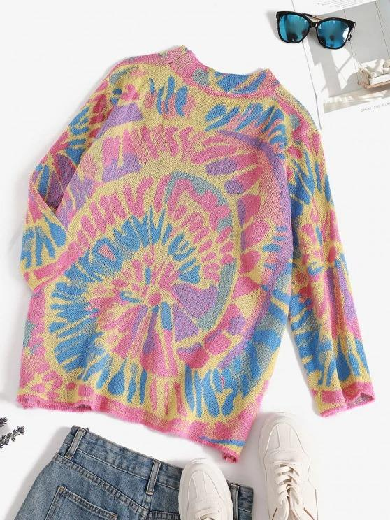 Splatter Tie Dye Print Drop Shoulder Sweater - INS | Online Fashion Free Shipping Clothing, Dresses, Tops, Shoes