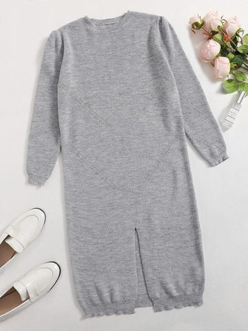 Split Hem Solid Sweater Dress - INS | Online Fashion Free Shipping Clothing, Dresses, Tops, Shoes