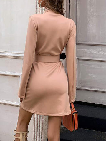 Split Sleeve Buckle Belted Blazer Dress - INS | Online Fashion Free Shipping Clothing, Dresses, Tops, Shoes
