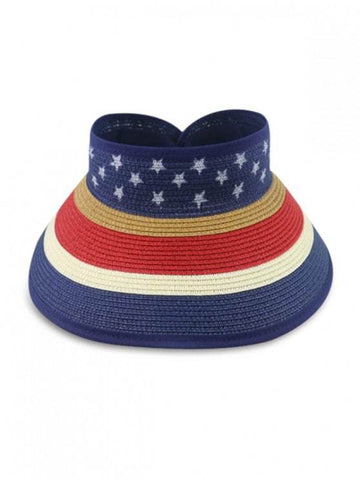 Star And Striped Foldable Visor Straw Hat - INS | Online Fashion Free Shipping Clothing, Dresses, Tops, Shoes
