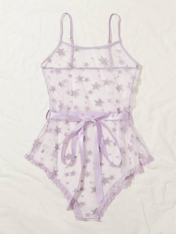 Star Print Sheer Belted Teddy Bodysuit - INS | Online Fashion Free Shipping Clothing, Dresses, Tops, Shoes