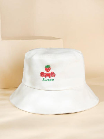 Strawberry Embroidered Bucket Hat - INS | Online Fashion Free Shipping Clothing, Dresses, Tops, Shoes