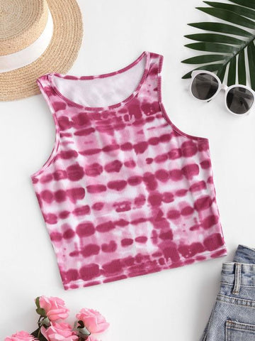 Streak Dye Ribbed Tank Top - INS | Online Fashion Free Shipping Clothing, Dresses, Tops, Shoes
