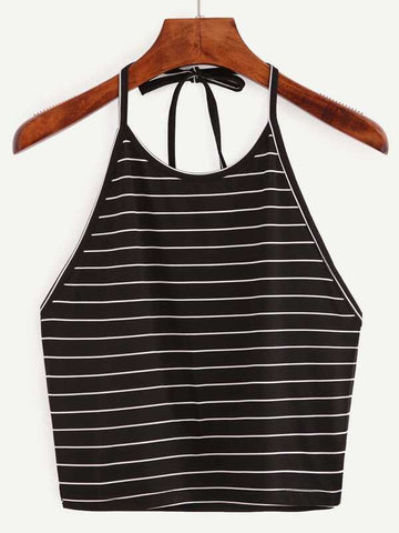 Striped Cropped Halter Top - INS | Online Fashion Free Shipping Clothing, Dresses, Tops, Shoes