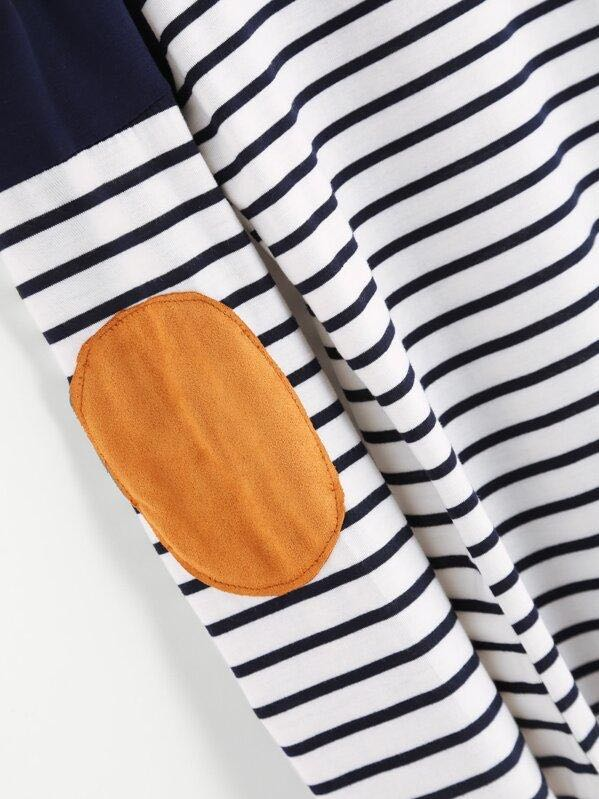 Striped Elbow Patch Curved Hem T-shirt - INS | Online Fashion Free Shipping Clothing, Dresses, Tops, Shoes