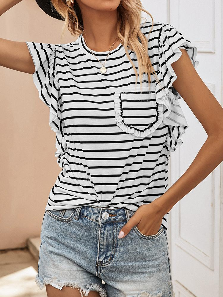 Striped Frill Trim Pocket Round Neck Tee - T-Shirts - INS | Online Fashion Free Shipping Clothing, Dresses, Tops, Shoes - 24/04/2021 - Color_ White - Season_Summer